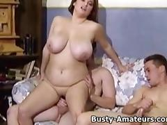 Busty Helena getting rammed by to horny dude