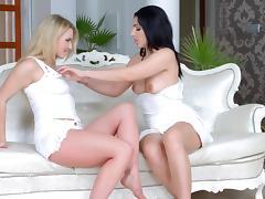 Jemma Valentine and Pamela Sanchez in lesbian scene by porn tube video
