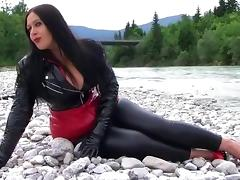 Busty PVC Lady near the River - Public Blowjob Handjob with PVC Gloves - Cum on my big Tits porn tube video