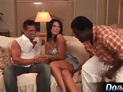 White wife takes white cock in front of black husband porn tube video