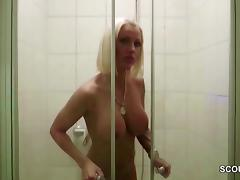 German Big Tit MILF Caught in Shower and Seduce to Fuck porn tube video