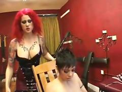 Dominant lesbian licking and dildoing porn tube video