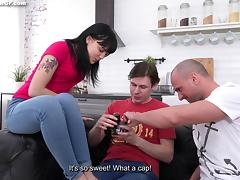 Yan, Kevin and Tetti Dew Korti get naked to have fun and film it porn tube video