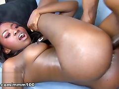 Oso Lovely & Rock in Ebony Goddess Gets A Big Cock And A Creampie - MMM100 tube porn video