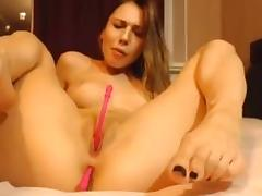 horny babe perfect tits ass and pussy plaging on cam