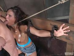 slave bound to cross on her knees has to deepthroat her master tube porn video