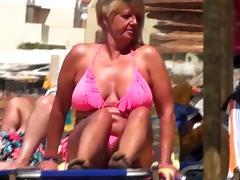 Old, Beach, Granny, Huge, Mature, Nipples