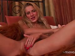 Amazing blonde Monica enjoys talking to you during her solo porn tube video