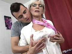 Horny granny with saggy tits fucked by a young guy porn tube video