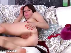 Rose Vermillion flaunts and strokes her furry snatch porn tube video