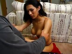 Busty mature tgirl gets her cock sucked
