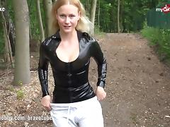 Public latex fan fuck with Blonde Hexe
