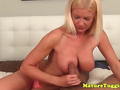 Cock teasing milf edging cock with handjob