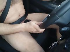 Naked driving and jerking in car Wichsen im Auto porn tube video