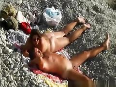 Interrupted nude beach handjob porn tube video