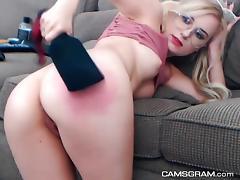 Naughty Blonde Slut Toying Her Twat