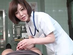 Subtitled CFNM Japanese female doctor gives patient handjob porn tube video