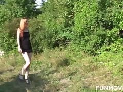 Skinny Austrian Redhead Teen in Public Park tube porn video