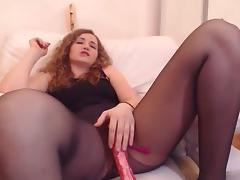 Webcam girl in black pantyhose fingers and squirts porn tube video