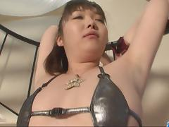 Cute Haruka Oosawa pounded by sex toys!