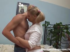Pretty Blonde Mom And Stepson Gets Horny Over Porn