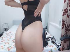 Horny Brunette Fingering Ass and Rubs Clit