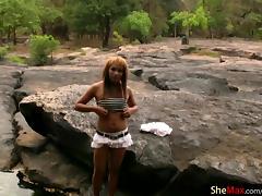 Chubby Asian teen TS masturbates tiny girl rod in the river porn tube video