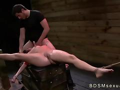 Tied to a crate and spread brunette Stella May roughly fucked porn tube video