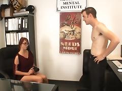 Redheaded Nikki Hunter fucks with boss porn tube video