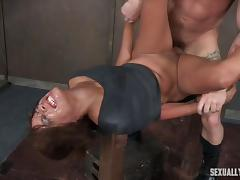ebony babe verta railed hard in bdsm spit roast
