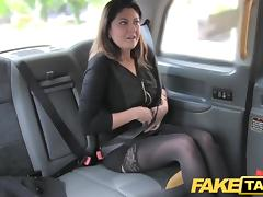 Fake Taxi big facial cum shot for brunette in stockings porn tube video
