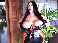 Curvy Latex Slut with Black Gloves - Rubber Blowjob Handjob - Cum on my Tits porn tube video