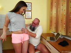 Seductive young babe Liza Shay enjoying Albert's ancient cock
