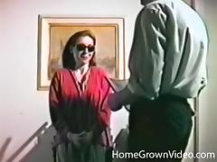 Chick with glasses lets a lover play with her tight wet vagina