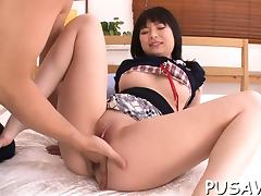 Asian whore nipples pinched while she shows off her cunt tube porn video
