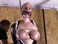 Bondage  suspension and latex girl!