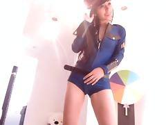 Very hot girl in police outfit masturbates and cums for her webcam fans tube porn video