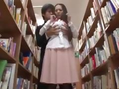 Shy busty librarian put on her jap knees