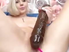 Hot blonde masturbateswith huge dildo 1