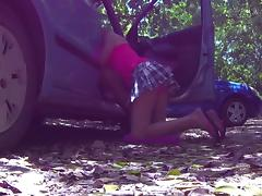 Sissy mya swallow loves to suck in the car at the beach porn tube video