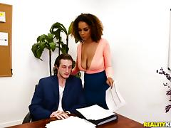 Raven Redmond cannot resist seducing her boss for a shag porn tube video