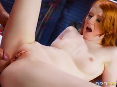 Ginger babe Krystal Orchid lifts up her skirt for a dong