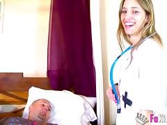 Horny doctor Saida Sinner plays with her patient's cock porn tube video