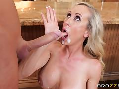Brandi Love is a hot housewife craving a shag in a kitchen tube porn video