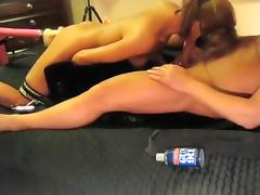3 Way With Dildo Fuck Machine Hot Wife Swallows