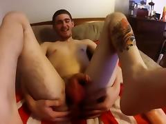 Butt Plugs, Face Fucking And Cbt With Tattooed Twink Boy Toy