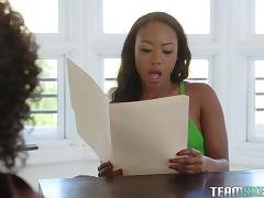 Black babes Chanell Heart and Misty Stone have a blast while shagging