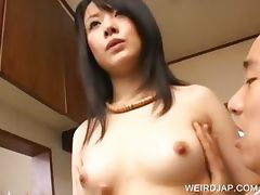 Asian stunner gets tits teased