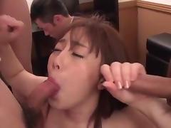 Nude Asian wide throats two guys in a smashing show