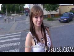 Big boobs amateur flashing and sex in public tube porn video
